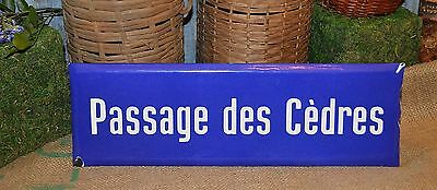 Vintage French Blue Enamel Street Sign Passage des Cedres - Passage of Cedars