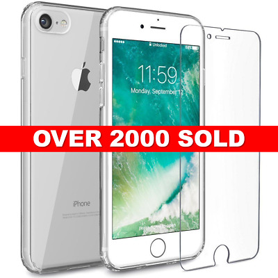 iPhone 6s / 6 Clear Case Cover Gel and Tempered Glass Screen Protector For Apple