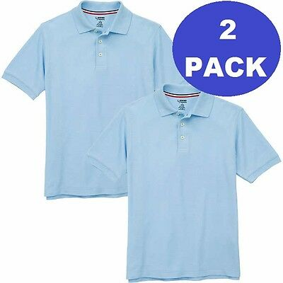 2 Pack Boys Large 10 12 Light Blue French Toast School Uniform Polo Shirt Pique