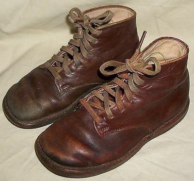 30s-40s  ANTIQUE VINTAGE LITTLE POOR BOYS USED ADORABLE LEATHER BOOTS & LACES
