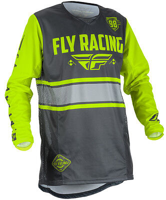 Fly Kinetic Era Grey Hi Vis Men's X-Large XL ATV MX Off Road Jersey 371-429X