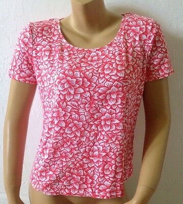 CHICOS Womens Size 1 Short Sleeve Floral Print Ultimate Tee T Shirt Scoop Neck