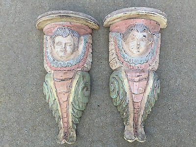 Pair of Pastel Colored Antique Large Carved Wood Ornate Girl Cherub Face Corbels