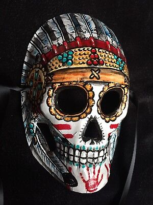 Handmade Indian Sugar Skull Man Mask Day of the Dead Face Tie On Style Feathers