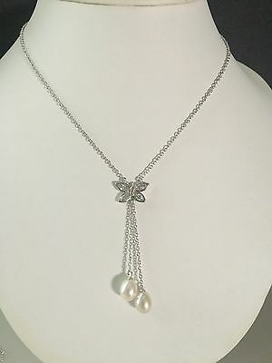 "925 Sterling Silver Freshwater Pearl Mermaid Pendant 18"" Chain Necklace Gift Bag"