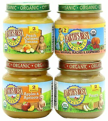 Earth's Best Organic Stage 2, Favorite Fruits Variety Pack, 12 Count, 4 Ounce
