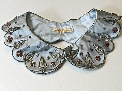 Vintage Silk Glentex Collar with Gold and Silver Metallic Trim and Red Stones