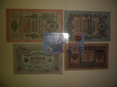 4X Circulated Russian Banknotes Year 1898 To 1909(Low Grade)