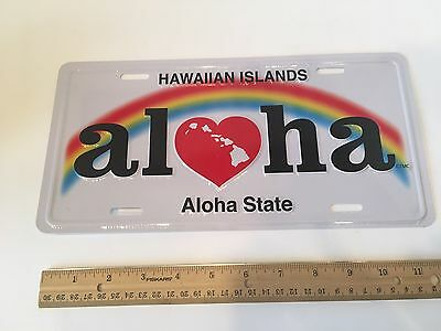 Hawaiian Aloha State Novelty License Plate Hawaii Rainbow Island Decor Tiki Bar
