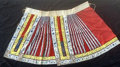 ANTIQUE 19th-CENTURY HANDMADE EMBROIDERED SILK Floral CHINESE WEDDING SKIRT- NR!