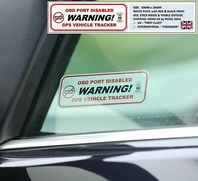 2 x WARNING: OBD PORT DISABLED & GPS VEHICLE TRACKER STICKERS STOPLOCK DISKLOK