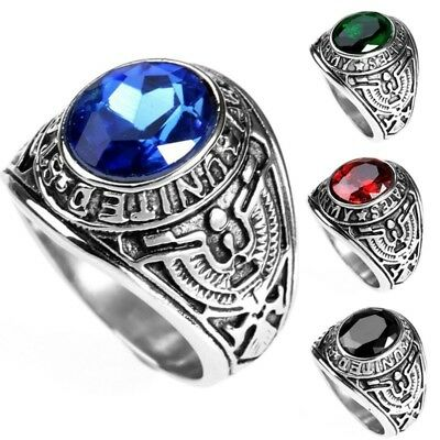 New Men's Stainless Steel 316 Siam Ruby United States US Army Military Ring