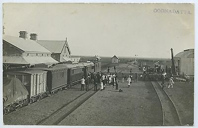 C1910 Rp Pu Postcard Railway Station & Goods Train Oodnadatta Sa Clear Image M29