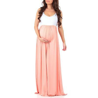 Women's Sleeveless Ruched Color Block Maxi Maternity Dress