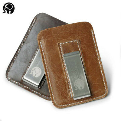 Ultra Slim Genuine Leather Thin Minimalist Pocket Wallet Money Clip Credit Card