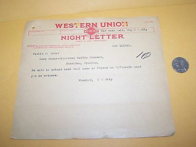 1915 Burton K. Wheeler Western Union Telegram U.s. Attorney Montana Criminal