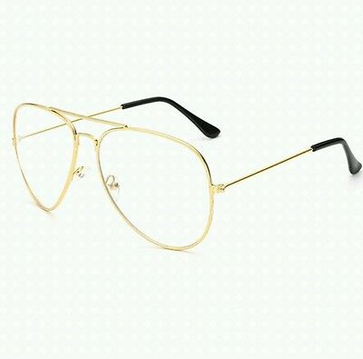 Fashion Retro Unisex Women Men Metal Frame Oversize Clear Lens Glasses Nerd Spec