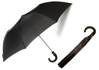 Mens Foldable Rain Umbrella Automatic Open Stylish J-Hook Medium Black Umbrellas