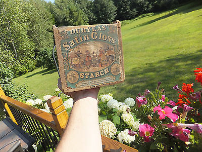 "Antique Primitive Duryeas Satin Gloss Starch Early Advertising Wood Box 10"" x 7"""