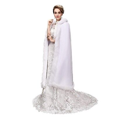 Wedding Cloak Velvet White Long Bridal Cape with Hood Faux Fur Winter Wrap St...