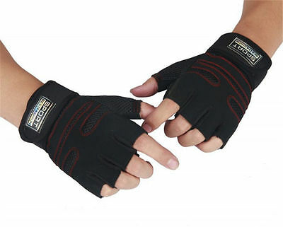 Weight lifting Gym Gloves Training Fitness Wrist Wrap Workout Exercise Sports LJ