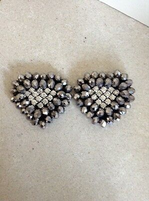 Grey / Silver And Dimante Shoe Clips Accessories