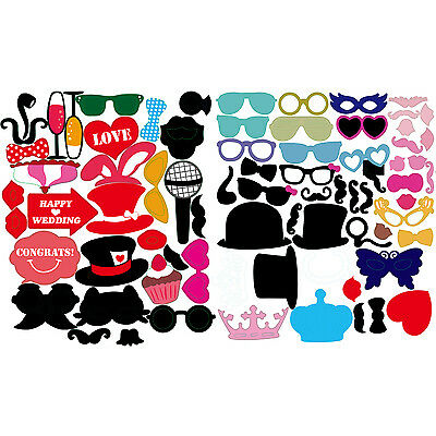 77pcs Photo Booth Party Props Funny Love Happy Wedding Celebration Selfie DIY