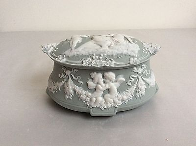 Bisque french Dresden german porcelain figurine box jasperware style