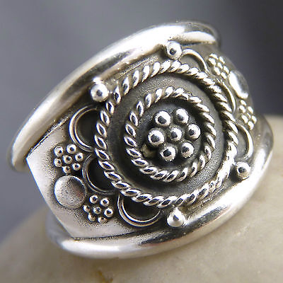 Wide Granulation Shield Ring Size US 8.25 SILVERSARI Solid 925 Sterling Silver