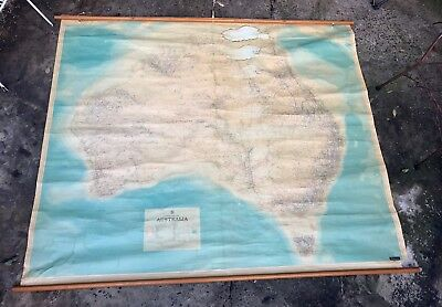 Large Vintage Map Of Australia 1930's Mounted By Robinsons