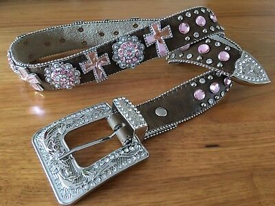 Nocona Crystal Western Leather Belt Sz M
