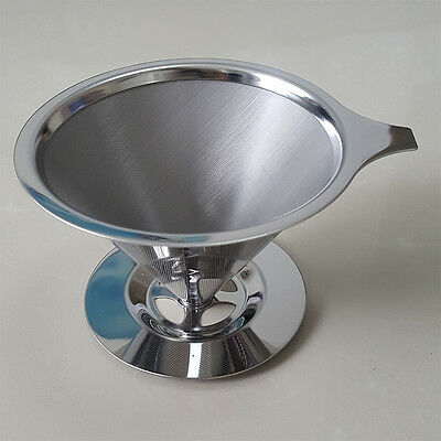 Stainless Steel Pour Over Cone Dripper Reusable Coffee Stand Strainer Filter-Cup