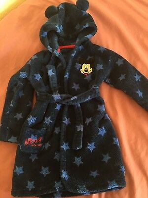 Baby Boys Disney Dressing Gown Bath Robe Mickey Mouse Blue 18-24 months