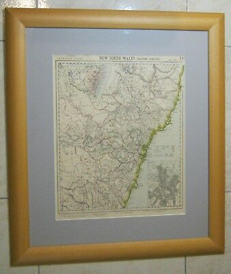 1871 EASTERN NEW SOUTH WALES Map Genuine Antique FRAMED
