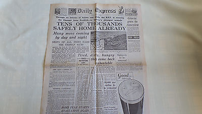 Vintage UK Newspaper Daily Express Dated May 31-1940 - B.E.F Brought Safely Home