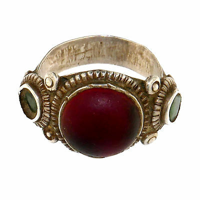 (1714)Early 20 th century silver and glass tribal ring pakistan