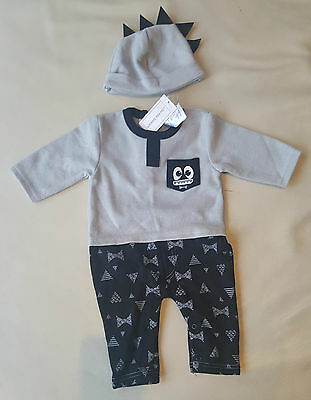 Baby Baby 3-6 Months Super Monster Jumpsuit With Beanie Set - Grey/Black