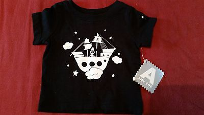 Amy Coe Black and White Pirate Ship Pattern Baby T-Shirt - BNWT - RRP $32