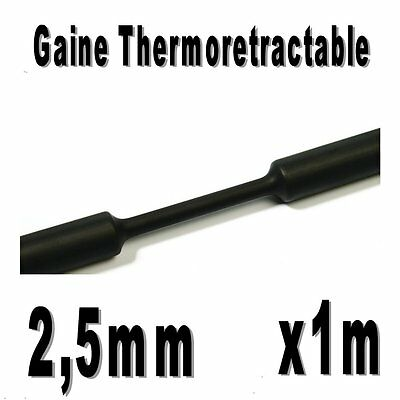 Gaine Thermo Rétractable 2:1 - Diam. 2,5 mm - Noir - 1m