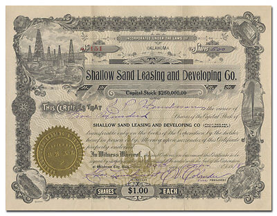 Shallow Sand Leasing and Developing Co. Stock Certificate (Oklahoma)