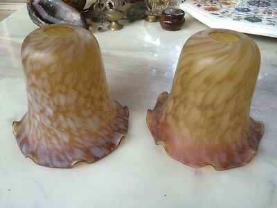 lamp shade vintage Art Deco Pair Amber Colours