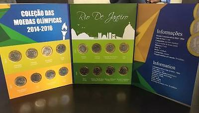 Album Comemorative Complete Collection 16 Coins Brazil Olympics Uncirculated 40