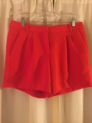 J. Crew Womens Crepe Pleated Dress Shorts Red Career Casual Size 6 Perfect!