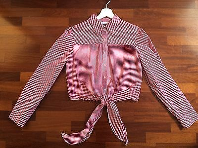 Cache Cache vintage cropped shirt Gingham Top 90's look tg S-M