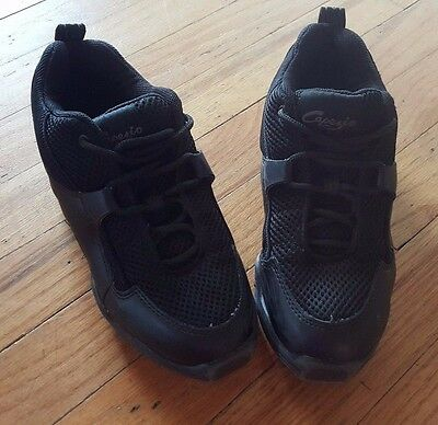 CAPEZIO Girls JAZZ Hip Hop SNEAKER Dance Shoes Black Size 5 Split Sole