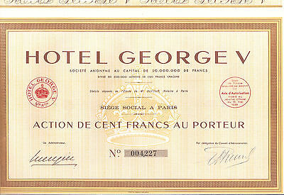 Lot de 10 Actions -  HÔTEL GEORGE V - PARIS -  1939
