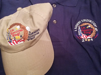 Harmony Kingdom Event Let Freedom Ring Shirt & Hat New Size Large 2004 Navy Blue