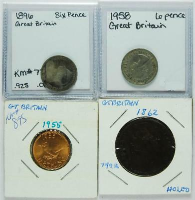 Lot of 4 Great Britain Coins,  6 Pence, Farthing, One Penny,   #A43