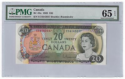 "Canada $20 Banknote 1969 BC-50a PMG GEM UNC 65 EPQ ""below book price"""