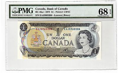 Canada $1 Dollar Banknote 1973 BC-46a-i PMG Superb GEM UNC 68 EPQ - Perfect Note